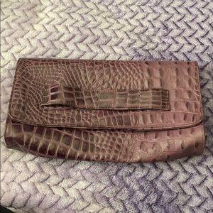 JJ Winters crocodile embossed purple clutch